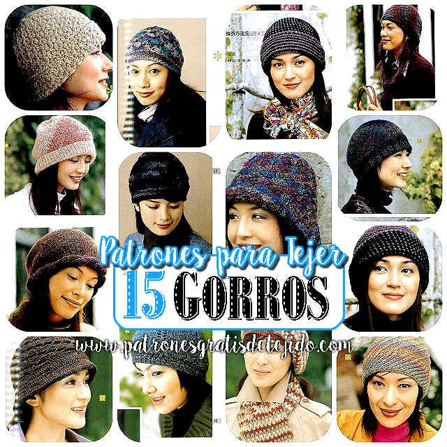 patrones de revista asiática para tejer gorros de mujer crochet y ...