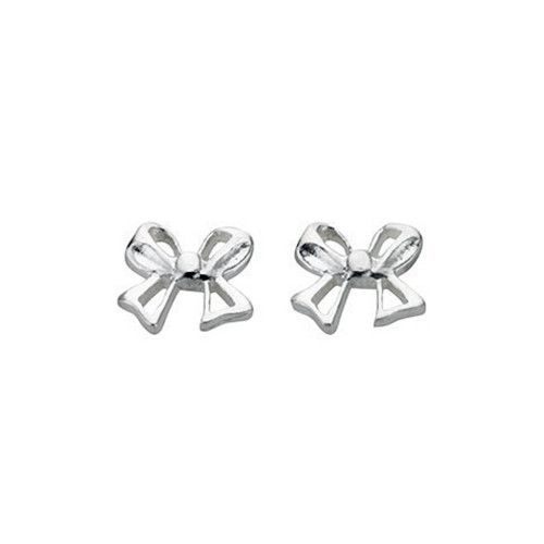 Silver Bow Stud Earrings Jewellery Diamond Jewelry Sterling Studs