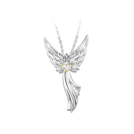 Guardian Angel Of Love Swarovski Crystal Pendant Necklace