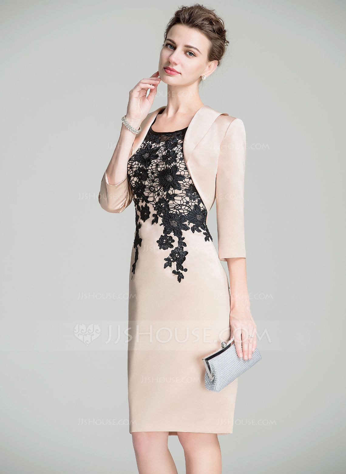 Casual mother of the groom dresses for outdoor wedding  SheathColumn Scoop Neck KneeLength Satin Lace Mother of the Bride