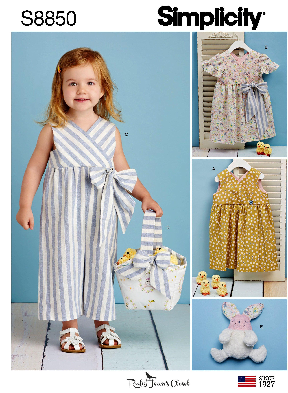 6559f834023b4a Sewing Pattern Toddlers' Dress Pattern, Toddlers' Jumpsuit Pattern, Baby Girls  Jumpsuit Pattern, Baby Dress, Simplicity Sewing Pattern 8850 by ...