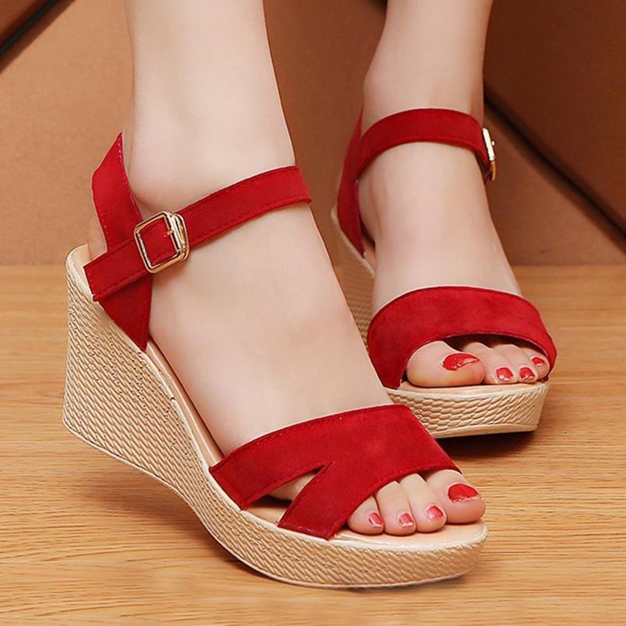 77f21ffb3ce0  AdoreWe  BerryLook -  berrylook Plain High Heeled Velvet Ankle Strap Peep  Toe Casual Date Wedge Sandals - AdoreWe.com