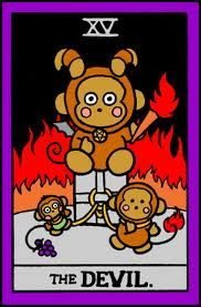 Hello Kitty Tarot, The Devil Card. Can you get the Monkey off your back??