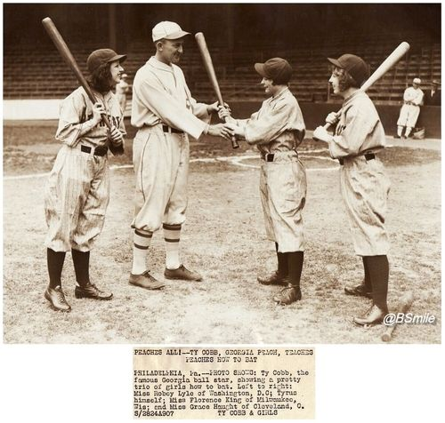 Ty Cobb, Georgia Peach Teaches Peaches How To Bat  ~ Now up over at Uni Watch, There's No Service Like Wire Service, Vol. 53, I'll post some of my highlights here too…