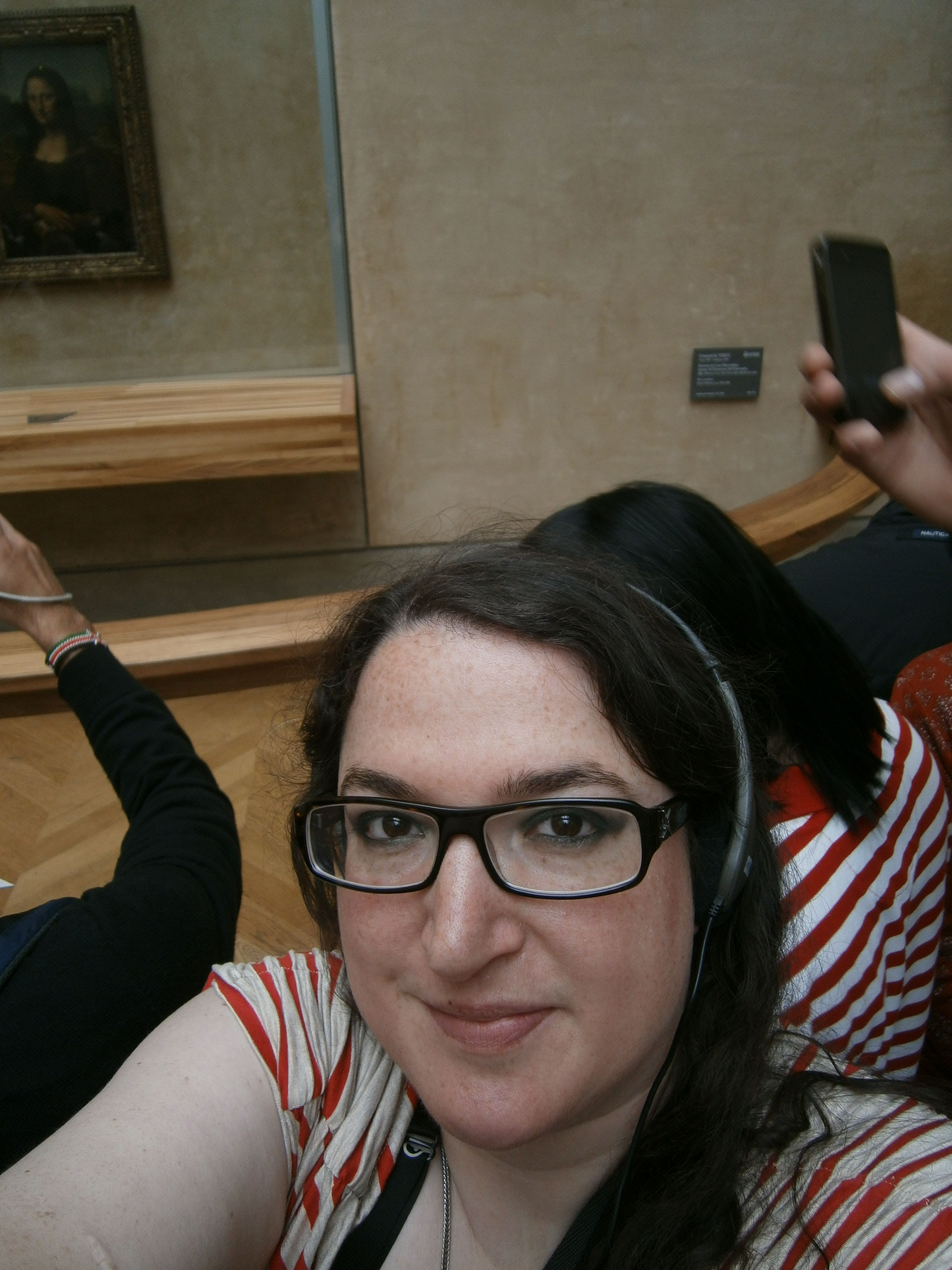 Selfie with Mona Lisa. It's tough to get close, as my face will tell you.