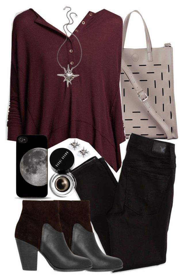 """""""Derek Inspired Party Outfit with Black Jeans"""" by veterization ❤ liked on Polyvore featuring Sole Society, Free People, American Eagle Outfitters, rag & bone, Lauren Wolf and Bobbi Brown Cosmetics"""