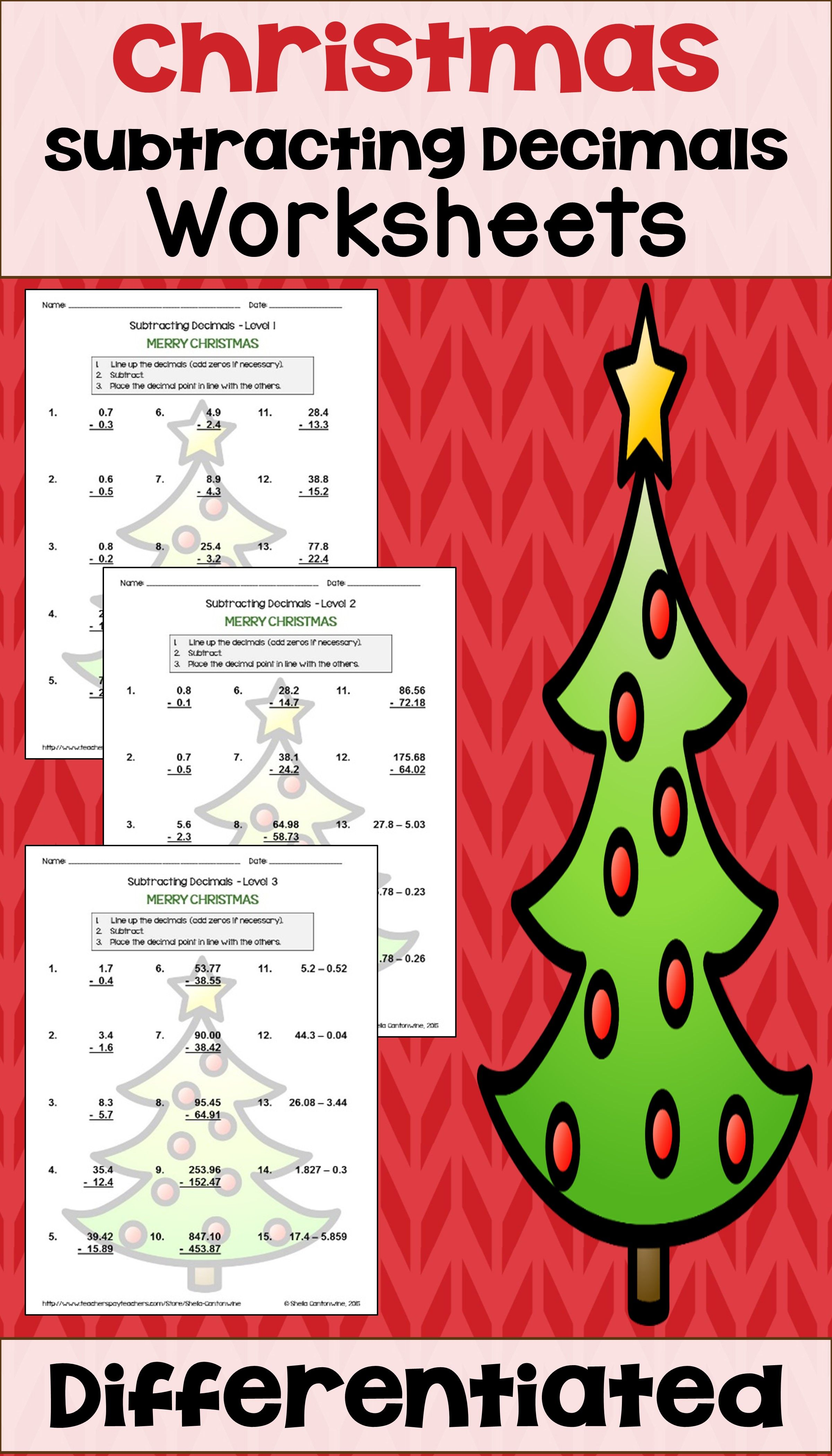 Christmas Subtracting Decimals Worksheets With Images