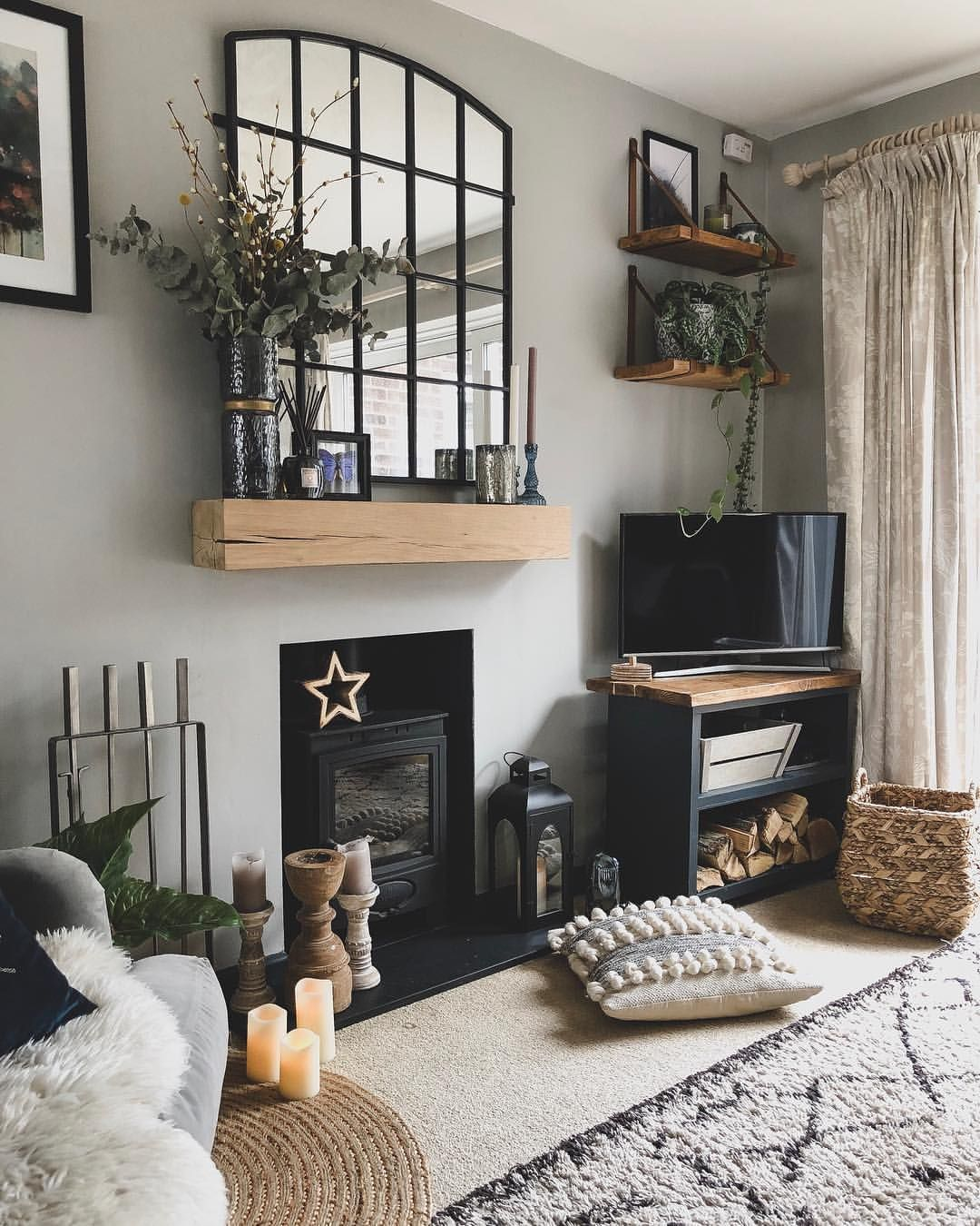 Living Room Tv Corner With Over Mantle Mirror Livingroom Greywalls Mantle Logb Living Room Decor Fireplace Living Room Design Small Spaces Cosy Living Room