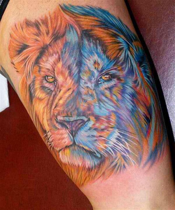 Lion Color Tattoo Lion Tattoo Head Tattoos Mens Lion Tattoo