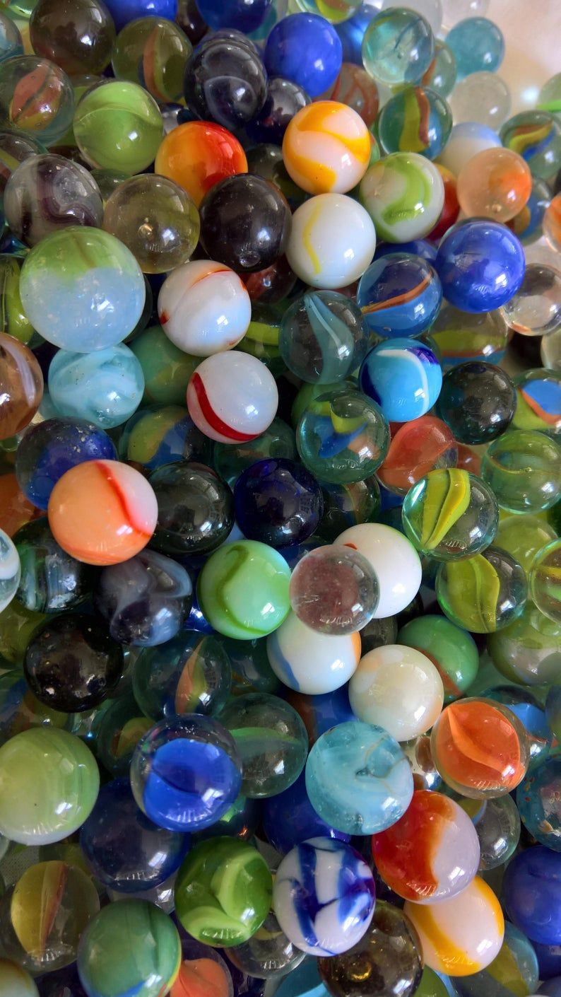 Vintage Glass Marbles Set Of 10 Retro Classic Americana Childhood Game Hobby Pastime Jewelry Jar Filling Craft Knick Knacks Trinkets In 2020 Glass Marbles Crafts Marbles For Sale