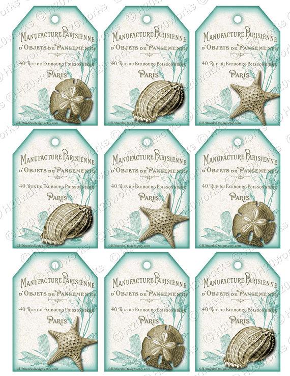 Seashell Tags Aqua White Tags Shabby Chic French Country Beach Gift Tags Sand Dollar Starfis Vintage Tags Printable Designs Free Printable Tags