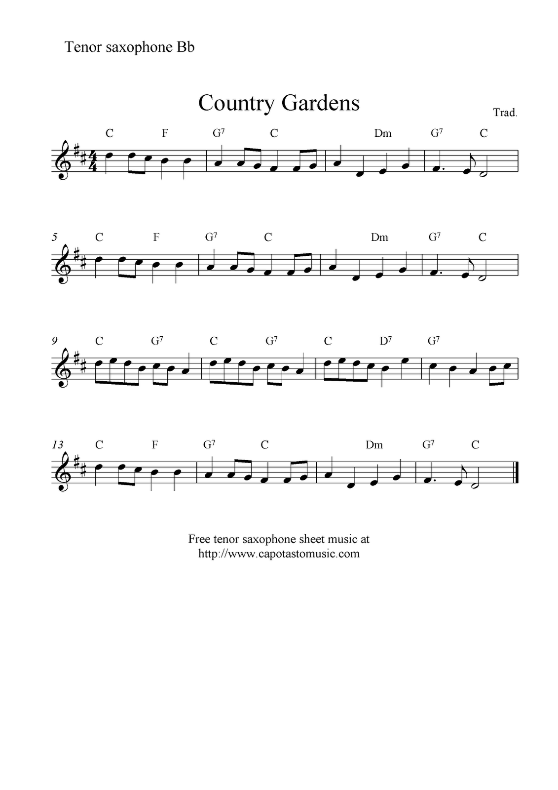 saxophone sheet music for beginners | Sheet Music Scores: Country
