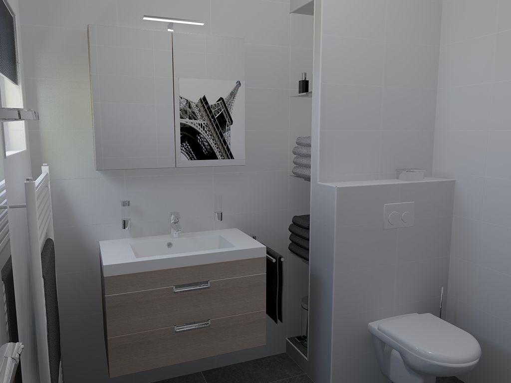 Ontwerp van kleine badkamer (203x228cm) met tegels in een ...