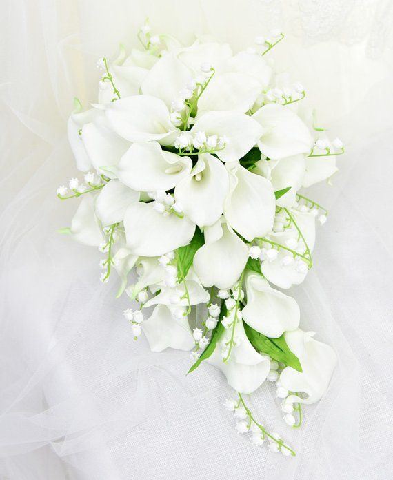 Lily Of The Valley Wedding Flowers: Artificial Flower Wedding Bridal Bouquet Waterfall Calla