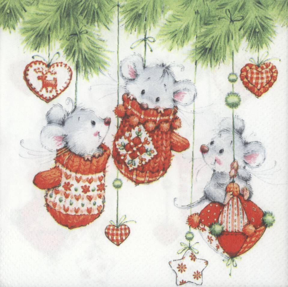 Decoupage Paper Napkins of Christmas Mice Playing in Tree