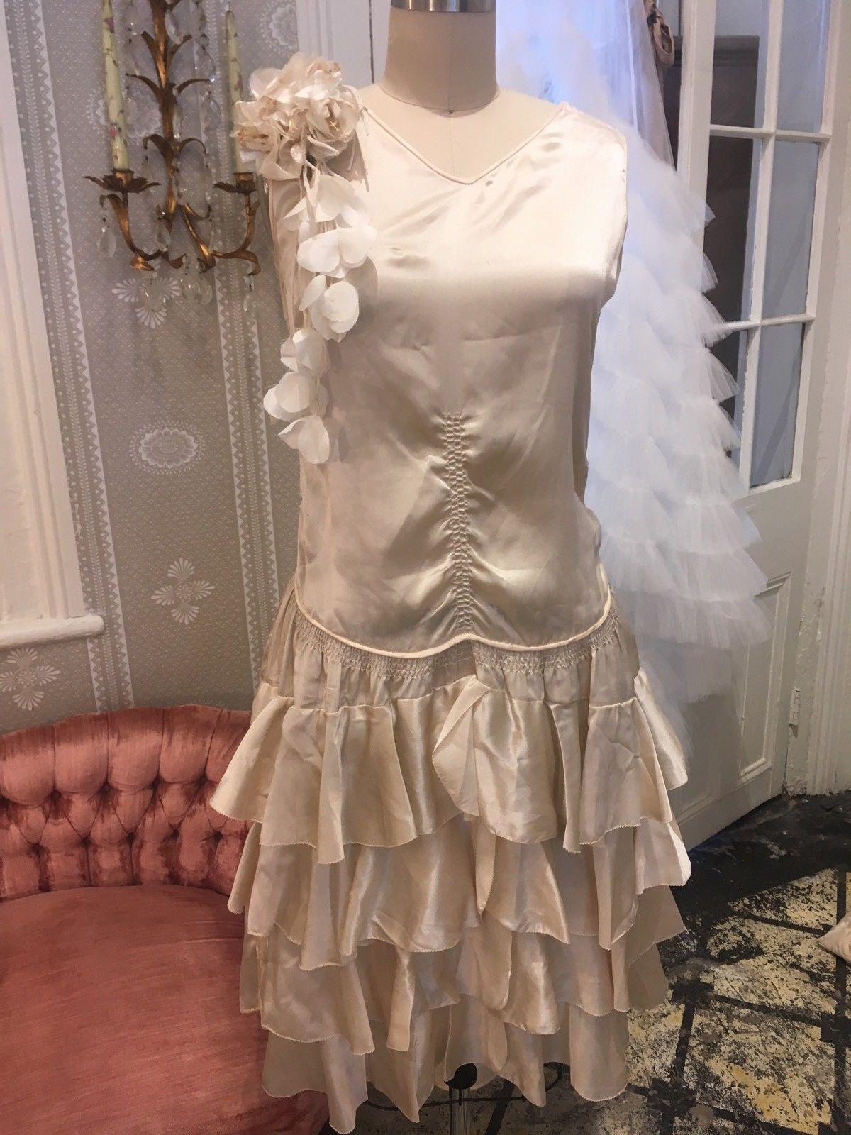 Vintage s ivory silk satin bridal wedding flapper dress with