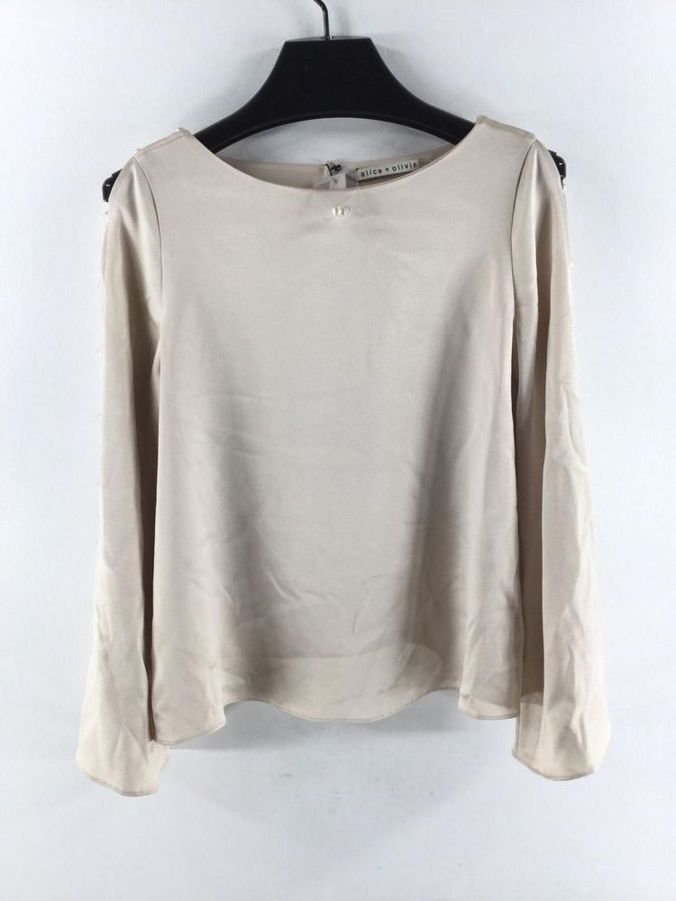 f08e1494a39 640C NEW Alice Olivia Champagne Genia Bell Sleeve Top Women s Sz S  fashion   clothing  shoes  accessories  womensclothing  tops (ebay link)