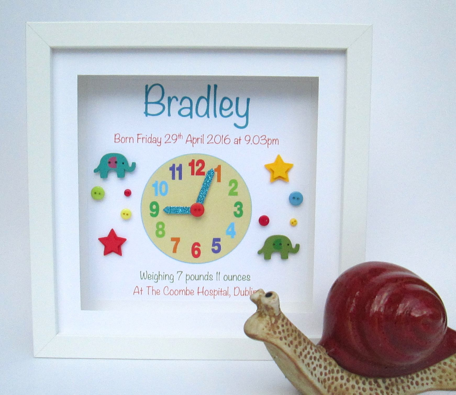 Personalised baby clock frame for boy crafts pinterest personalised baby clock frame for boy negle