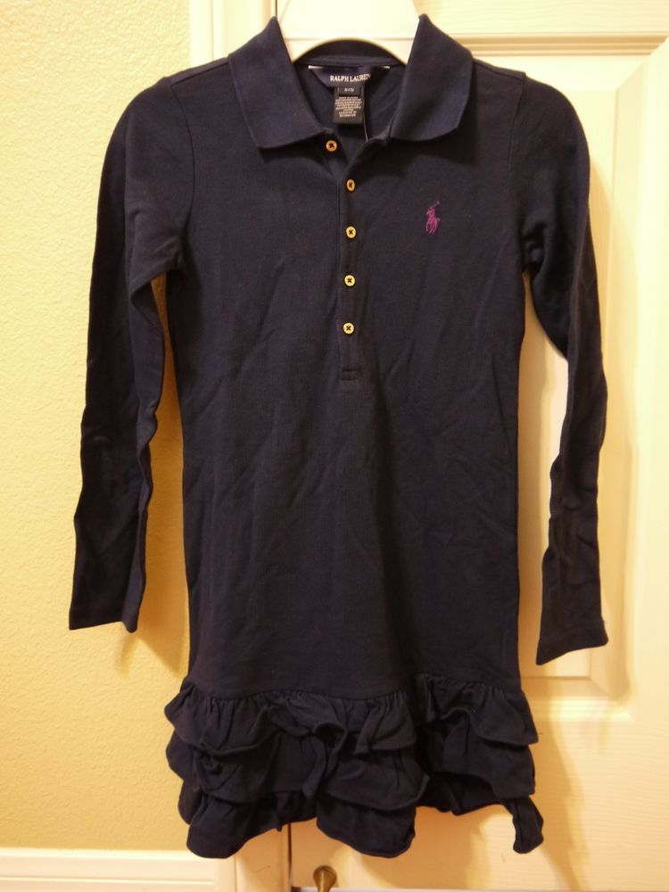 49342d6be8b61 NEW Ralph Lauren Girls Navy Blue Polo Dress Sz. Small 7 #fashion #clothing