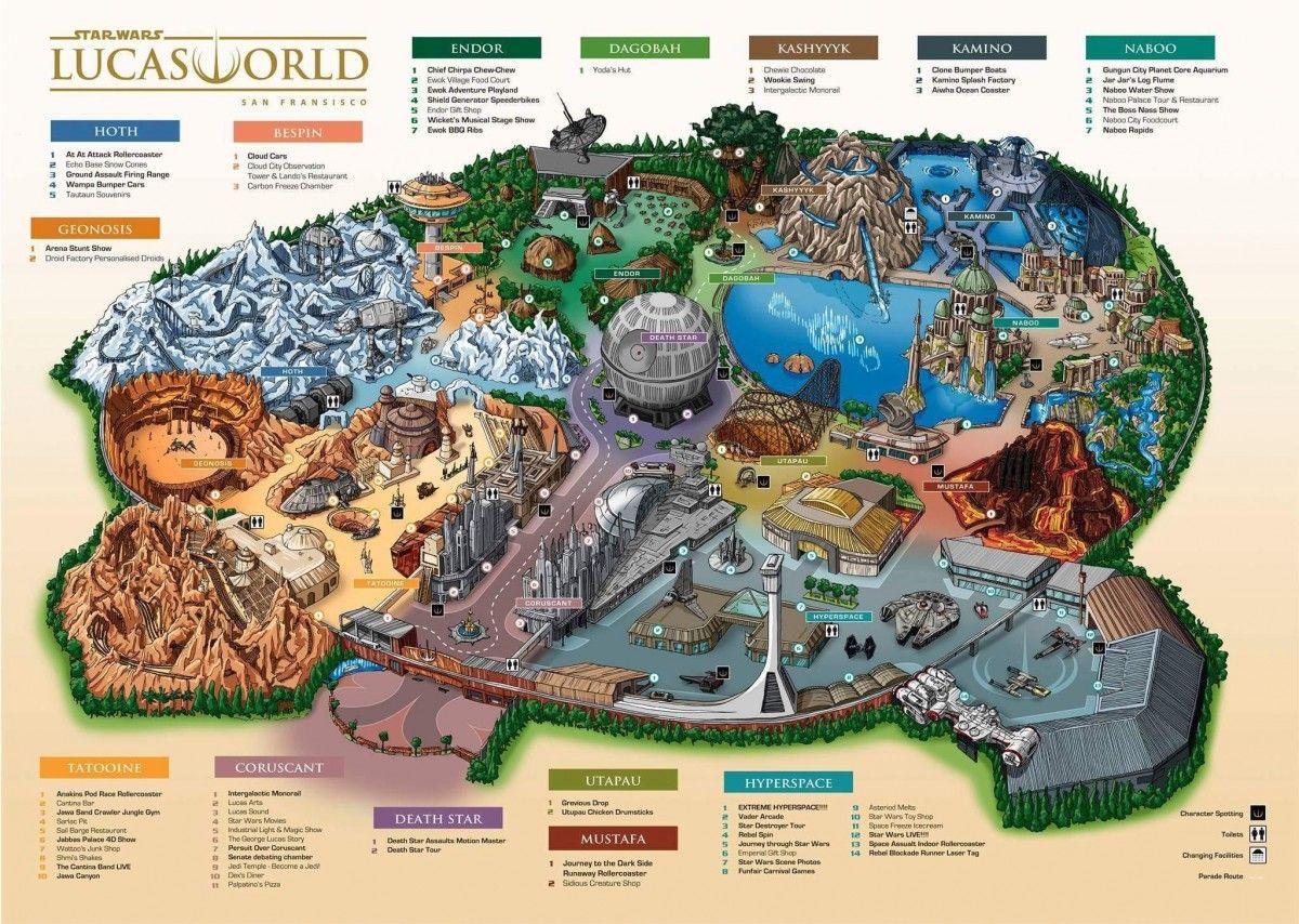 Star Wars Land Disney World Map Star Wars Lucas World theme park map | Disney star wars land