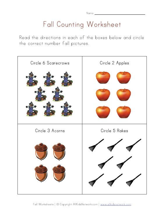 Number Names Worksheets autumn worksheet : 1000+ images about Preschool - Fall on Pinterest