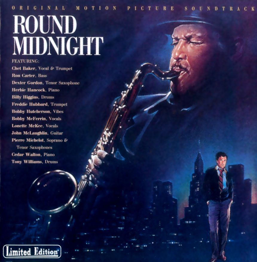 """Various.  Title: Round Midnight (Soundtrack).  My favorite movie about jazz.  Its Grammy win was controversial, but I feel it was a deserved win for """"Chan's Song (Never Said)"""" alone.  Dexter Gordon's performance, both in front if the microphone and in front of the camera, is stunning.  I'm generally not a soundtrack or """"best of..."""" kind of guy, but this is special.  Some extremely wonderful, special, and intimate moments on this recording."""