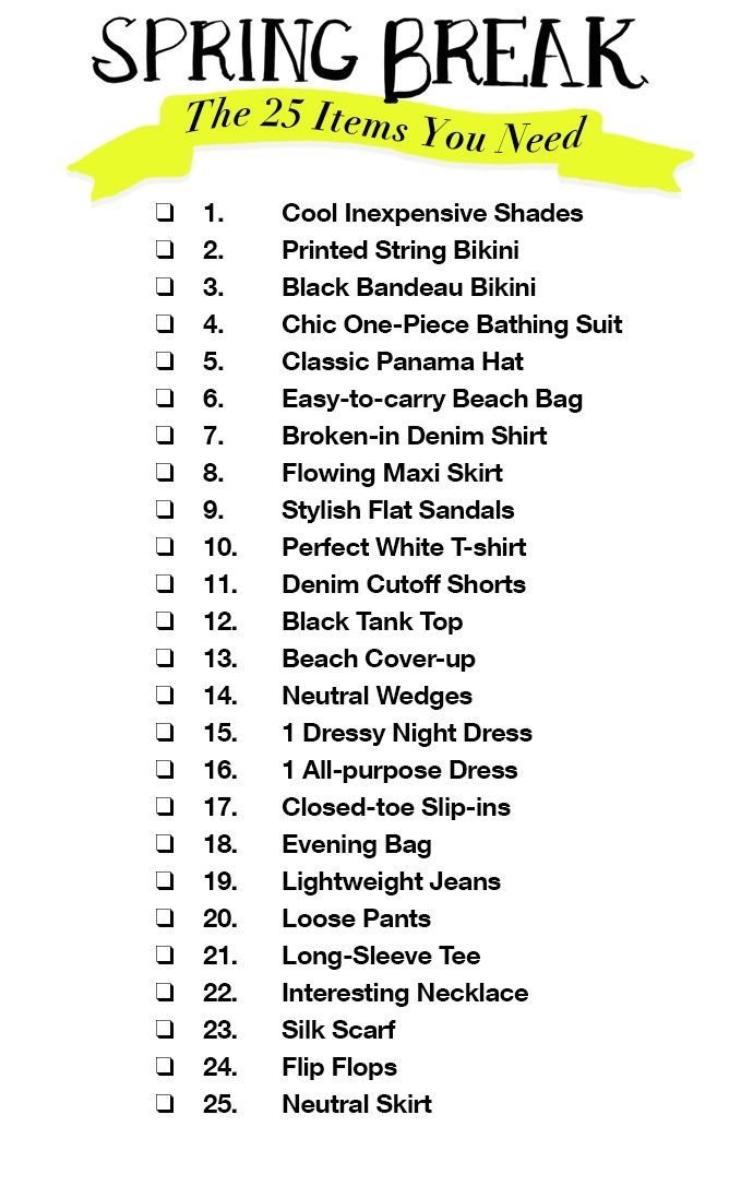 1b322d3478a Spring Break Packing List  The Only 25 Items You Need To Bring (All ...