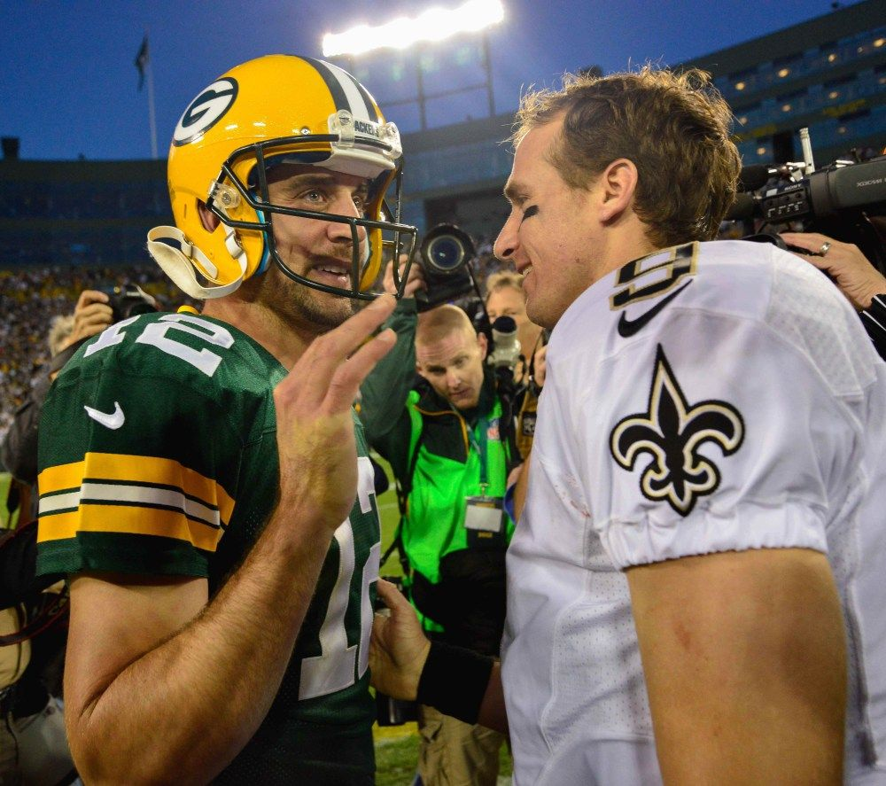 Aaron Rodgers And Drew Brees In One Picture My Two Faves Usa Today Sports Green Bay Packers Nfl