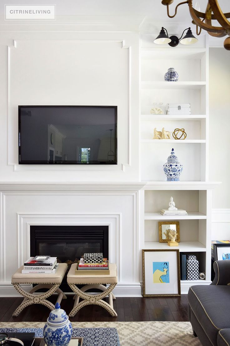 CITRINELIVING : LIVING ROOM BOOKSHELVES -  DIY shelves with molding detail add an streamlined, elegant and sophisticated look.
