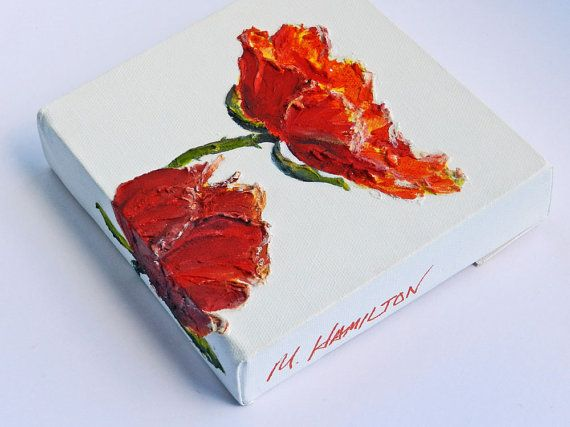 Summer Poppies II Wall Art Poppy Art Hand Painted by DreamON, $45.00