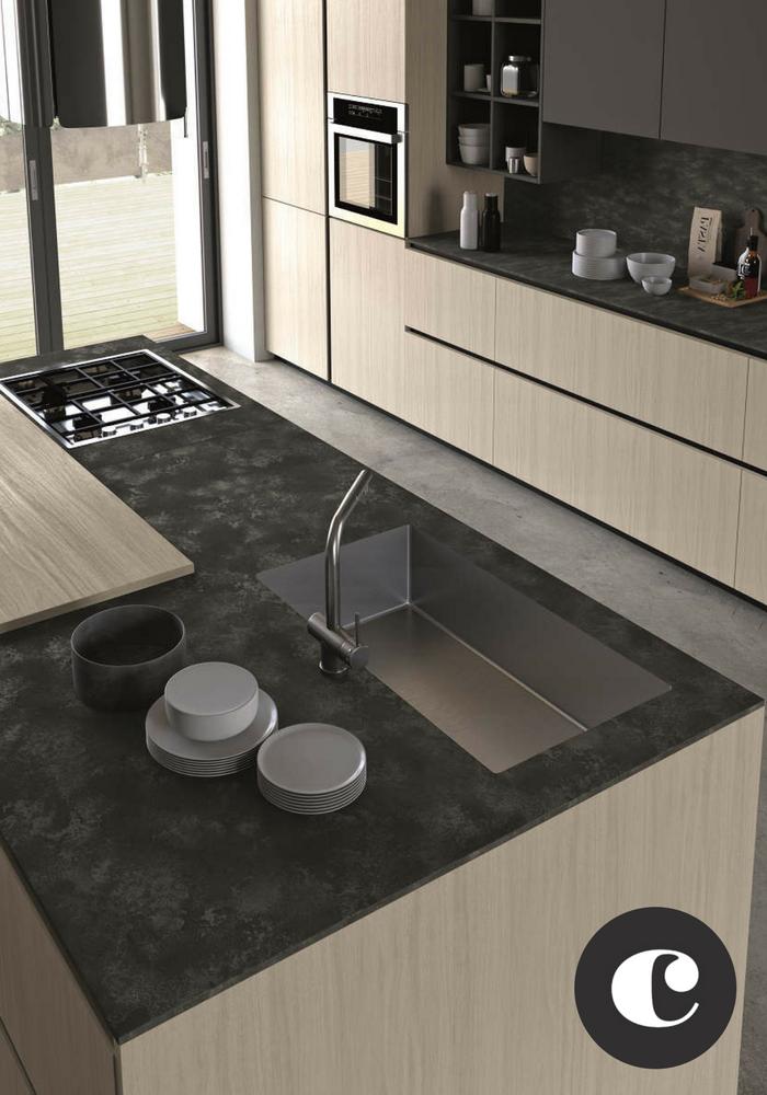 Isola in #cucina con #Top HPL stratificato sp. 1,2 Ossido ...