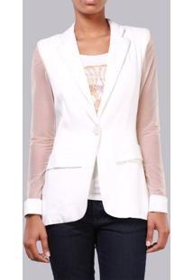 4f2b55ea84 blazer branco transparente feminino eva com manga Transparencia ...