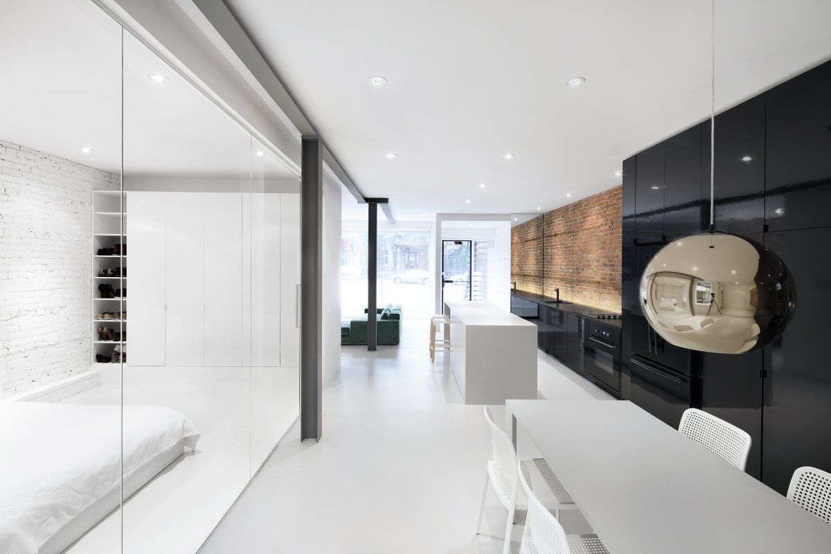 Truly Textured: Beautiful apartment has wonderful combinations of raw materials as focal walls - http://www.usualhouse.com/truly-textured-beautiful-apartment-has-wonderful-combinations-of-raw-materials-as-focal-walls/