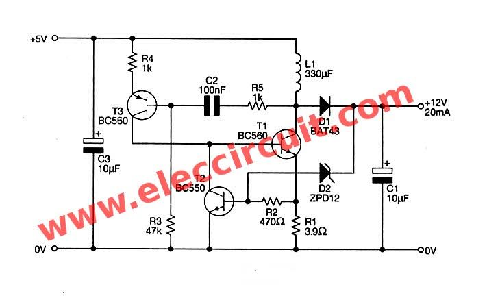 Usb 5v To 12v Dc Dc Step Up Converter Circuit Circuit Converter Electronic Schematics