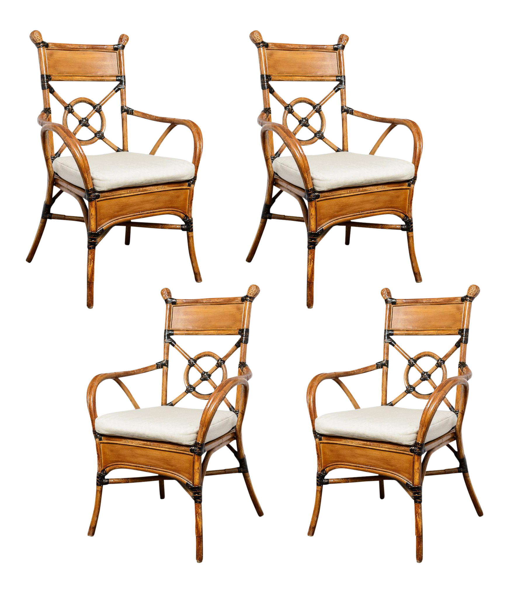 1960 Bamboo & Rattan Chairs Set of 4 on