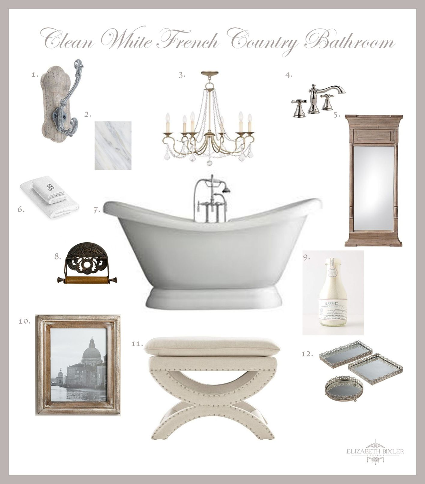 French Country Bathroom Design Collage - | Pinterest | Pedestal tub ...