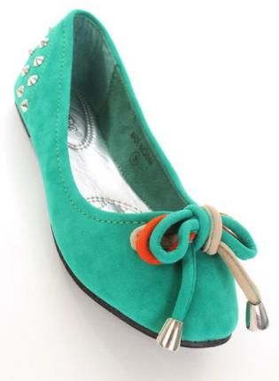Green Suede Flats with Spike Studs & Bow Front Detail,  Shoes, green suede spiked bow string, Chic