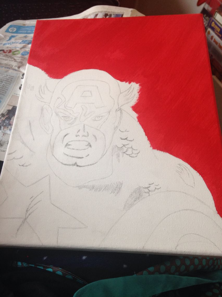 Captain America Canvas drawn up