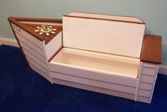 Boat Bed With Trundle And Toy Box Storage: Toy Box, Storage Chest, Boat, Nautical Deco, Organizer
