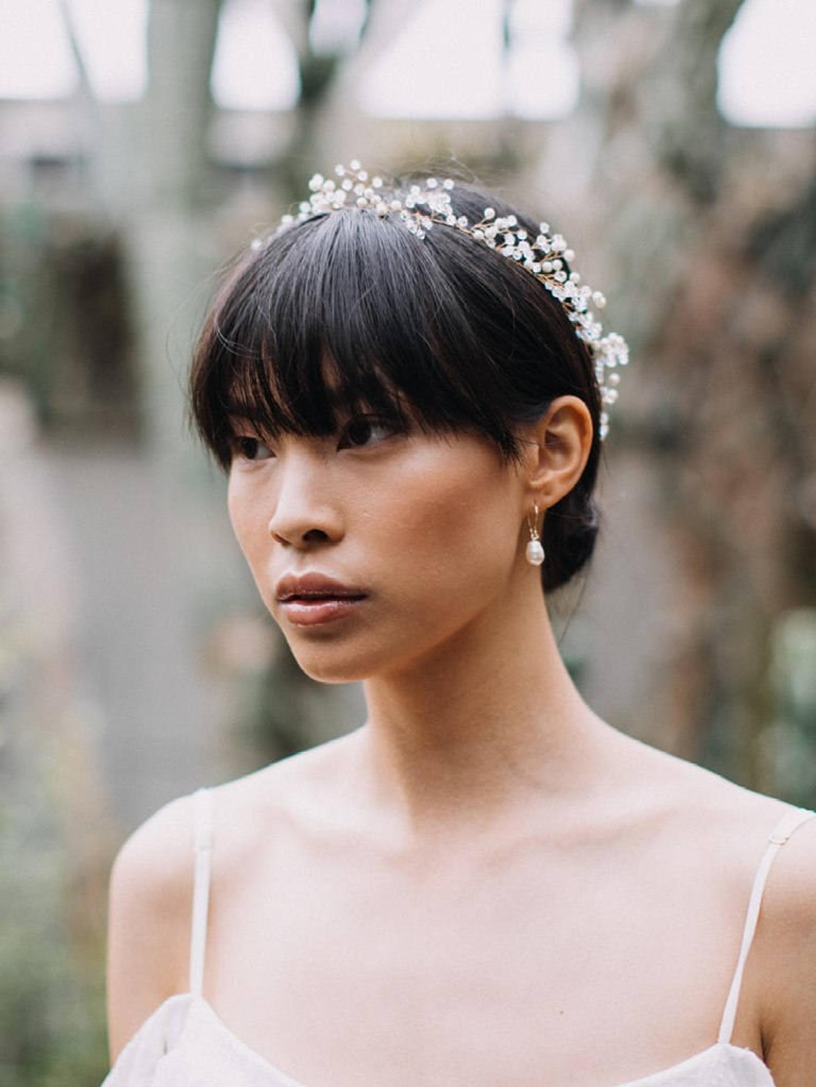 pearl and crystal crown wedding hair wreath bridal hair