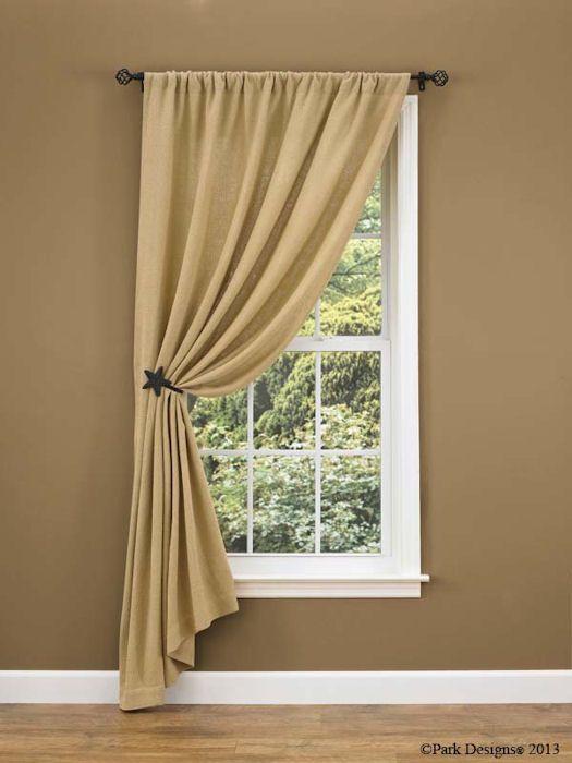 Burlap Curtain Ideas | Change to ruffled top - nice look ...
