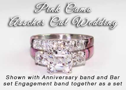 camo anniversary ring asscher stone wedding set pink camo wedding
