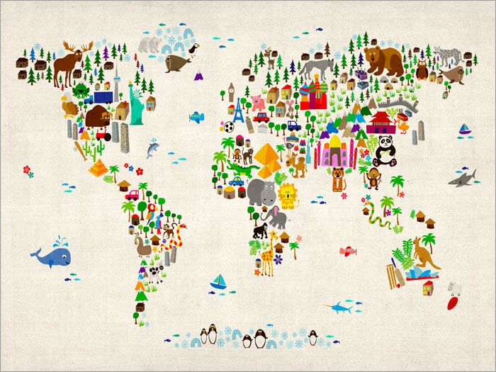 Animal Map of the World for Children and Kids canvas art print