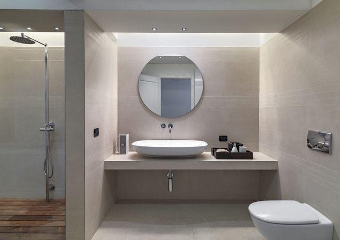 bäder ideen, runder spiegel in kombination mit ovalem waschbecken - ideen für badezimmer