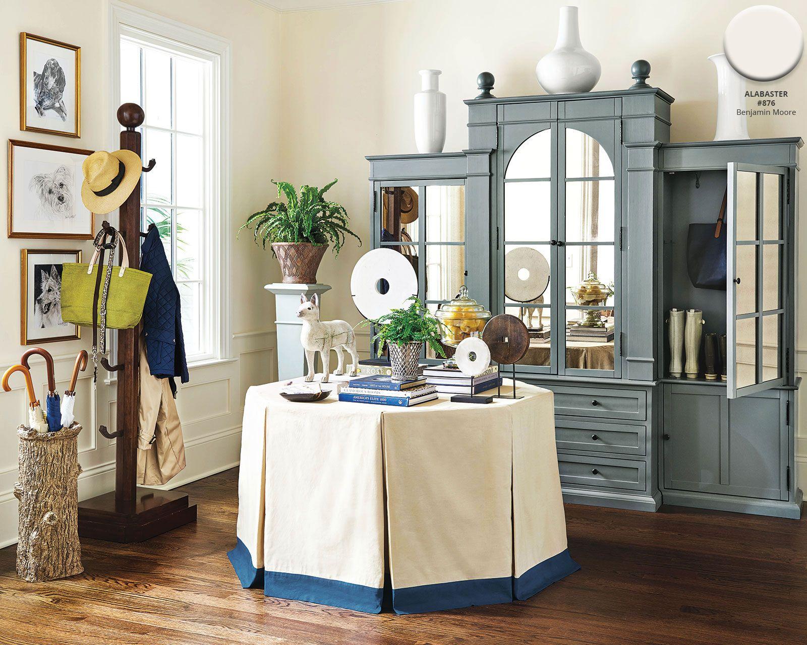 2019 benjamin moores alabaster paint color in entryway of ballard designs catalog