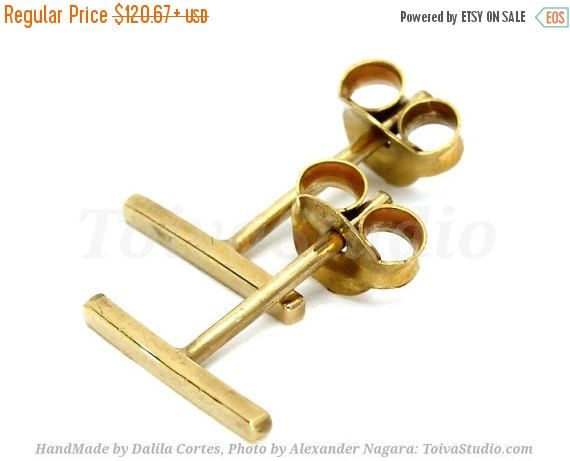 SALE 15%Tiny Solid Gold Bar Studs-Bar Earrings-Line Earrings-Bar Stud Earrings-Gold Post Earrings-yellow gold earrings-Minimalist