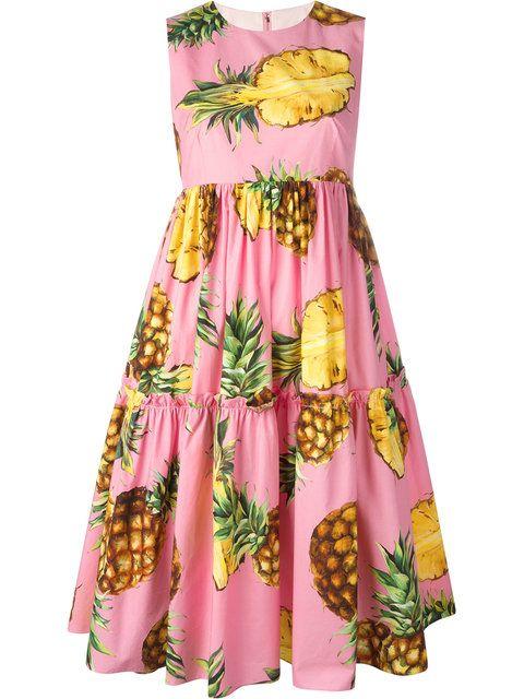 Shop Dolce & Gabbana pineapple print dress.