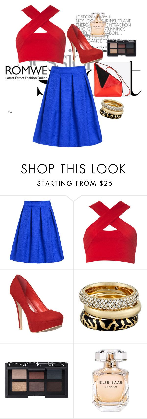 """Blue midi skirt ROMWE"" by clairejagus ❤ liked on Polyvore featuring Motel, Michael Kors, NARS Cosmetics and Elie Saab"