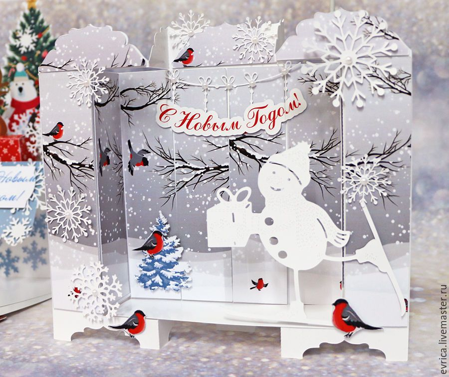Новогодняя открытка в стиле скрапбукинг своими руками пошагово снеговик, марта для