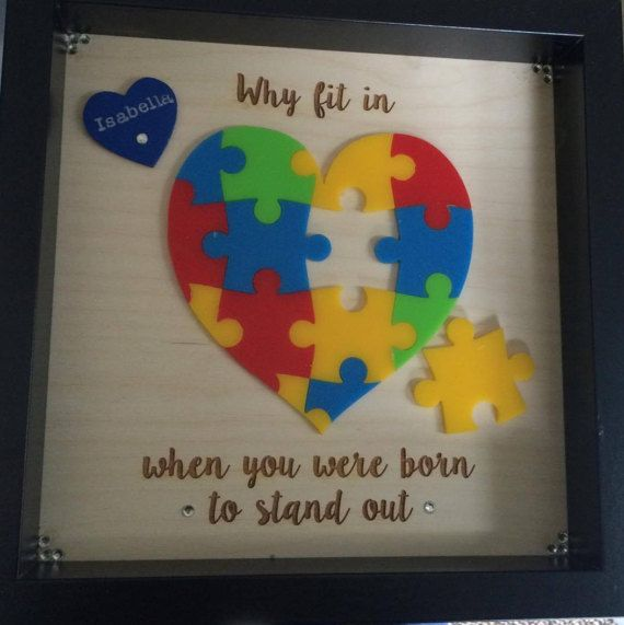 Autism Awareness jigsaw box frame personalised by Buntingandbutton